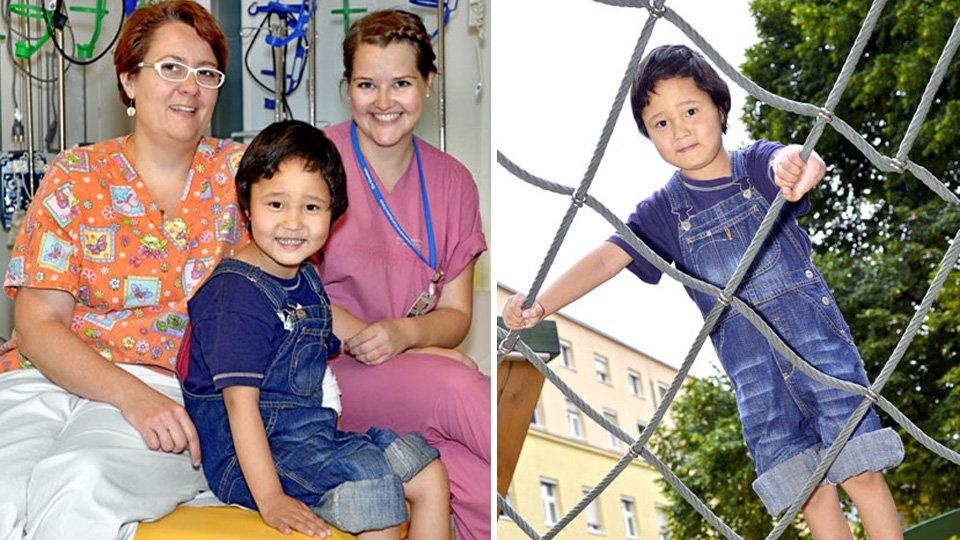 Links: Nicht nur Kinderchirurgin Dr. Frauke Schwier (li.) und Schwester Insa (re.) haben Timur während des mehrwöchigen Klinikaufenthalts in ihr Herz geschlossen. Rechts: Timor genoss die  Sommertage auf dem Spielplatz des Uniklinikums.